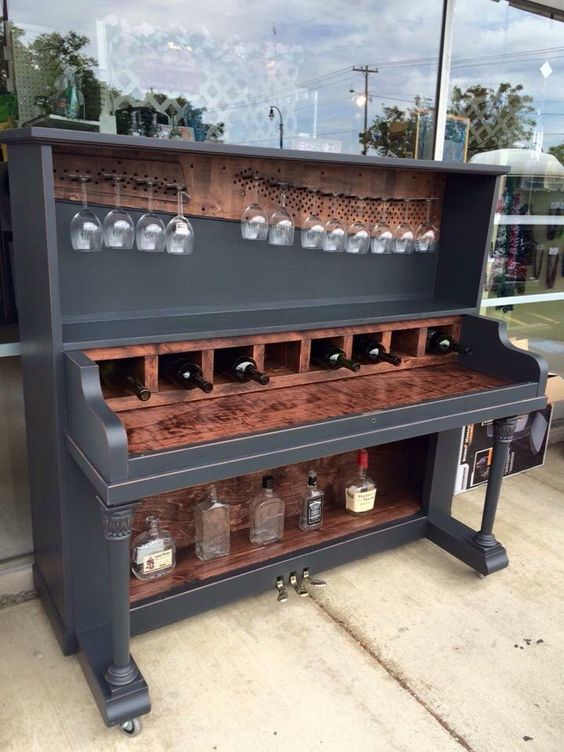 Restore an old piano into a wine rack, bar! OMG SWOOOOON!!!! I'd do a second tier of wine storage above. Absolutely beautiful piece of furniture!  I wish!!: