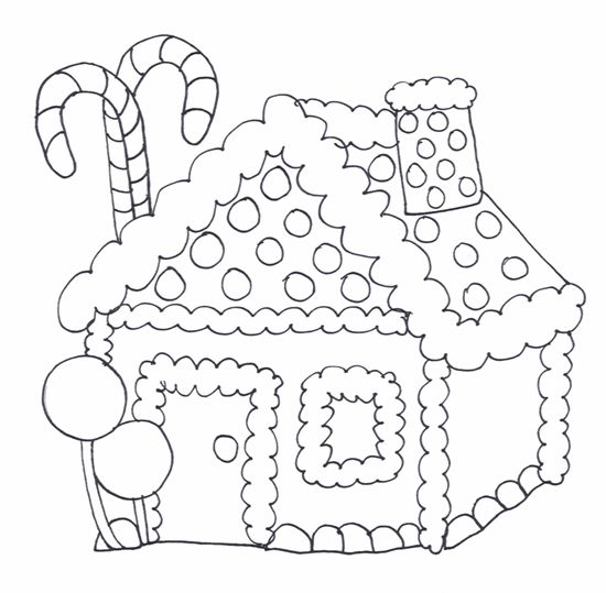 Candy cane house coloring page chrstms coloring pages for Candy house coloring pages