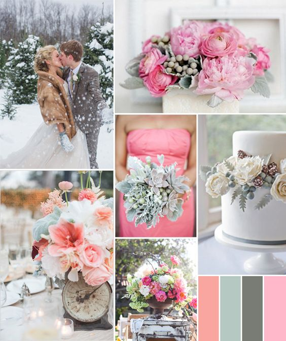 Winter Wedding Colors: Wedding, Coral Mint Wedding And Grey On Pinterest
