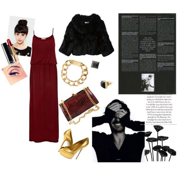 """Black night, golden stars and red wine"" by ana-maria-sipos on Polyvore"