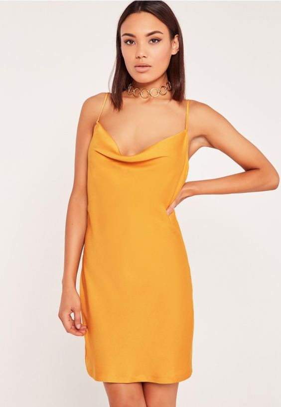 "good things come in small packages. shop our missguided petite range, for babes 5""3 and under.  In a sleek cami style with cowl neck, this yellow dress with bronze undertones will do all the talking."