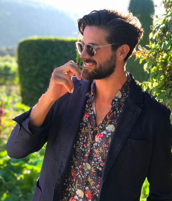 navy blazer with floral shirt