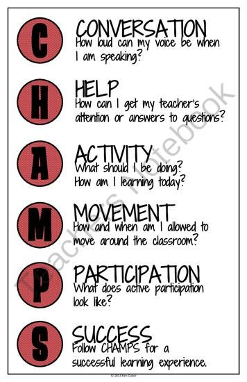 POSTERS Behavior Management System CHAMPS Charts (11X17 size) from cokerfamily6 on TeachersNotebook.com (8 pages)  - These posters are an excellent resource to be used all year long.