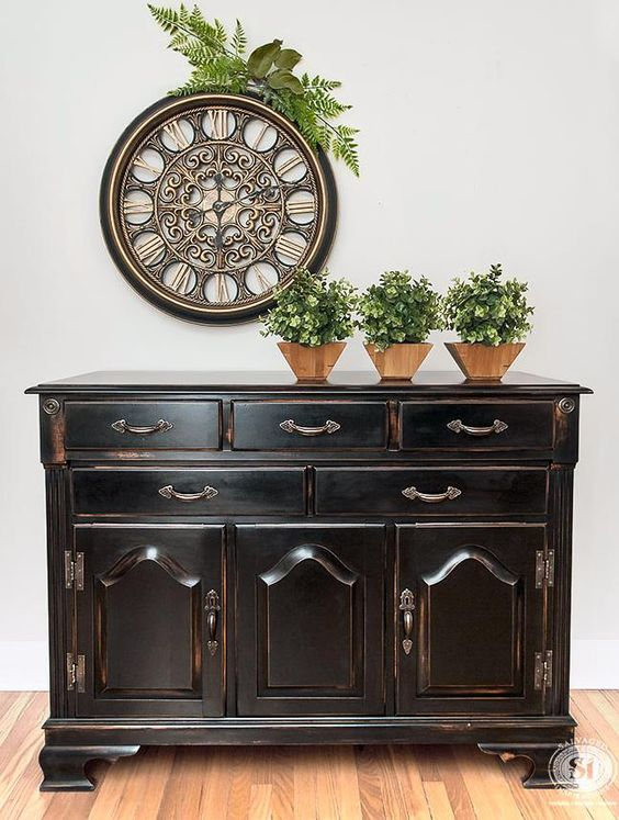Pottery Barn Knock Off Black Buffet