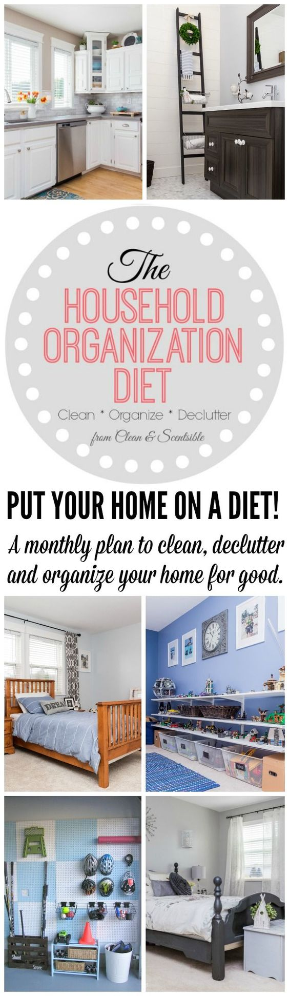 Join in this year long plan to completely declutter, deep clean, and organize your home once and for all! Free monthly printables and tons of inspiration to help keep you on track!