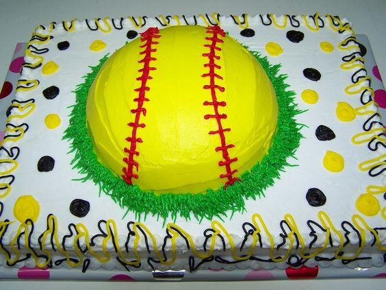 Girls Softball Birthday Cake Sheet Atopped With Round Bowl  cakepins.com