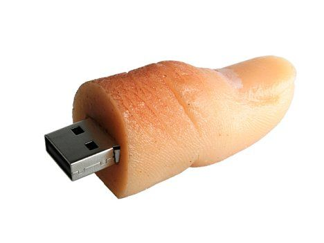 This is pretty much a hoot of a jump drive. I have seen tons, like hamburger jump drives, Lego jump drives, but this thumb is pretty much tops on my book.