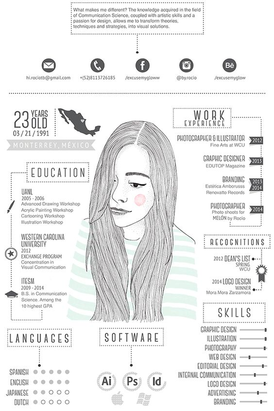 graphic designer s quirky illustrated résumé shows off her
