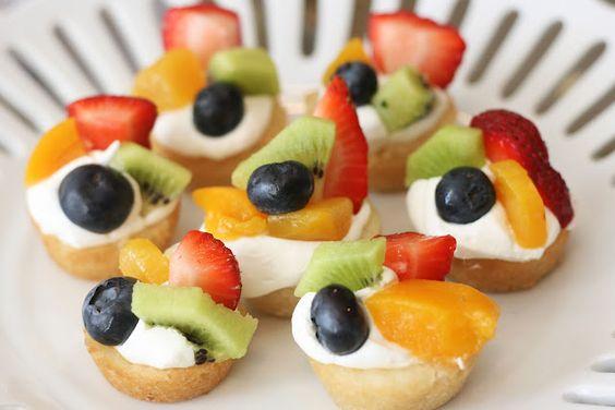 Mini cookie dough deep dish fruit tarts.