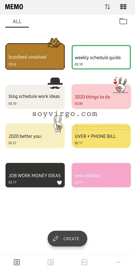 To do list app CUMO - 15 apps for lonely girls - soyvirgo.com - memo app cute note app android ios