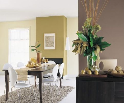 Green and brown feature walls with a neutral colour to for Green feature wall