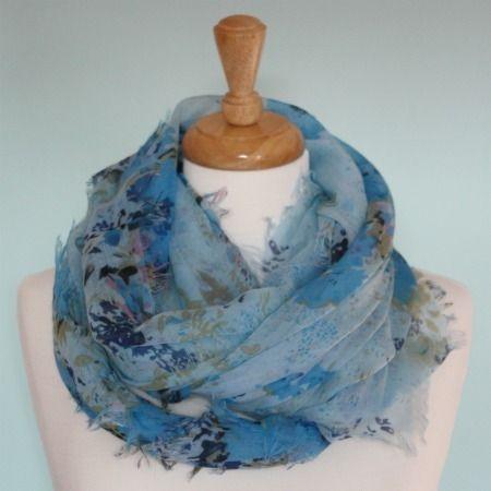 Noksuk Blue Flower Print Scarf