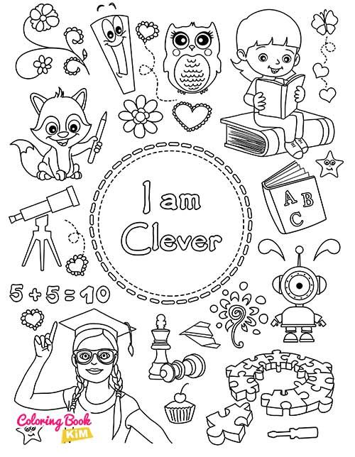 I Am Clever Coloring Page For Girls In 2020 Coloring Books Book Girl Positive Character Traits