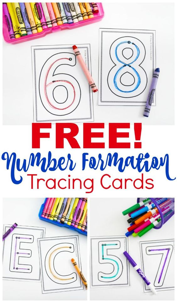 Free Number Formation Cards to Add to Your Preschool Writing Center - I use these number formation cards for everything! This post has more than six fun and engaging ways to use these number tracing cards. They can be added to your preschool math centers or your preschool writing center. Preschoolers learn how to properly form letters while learning number identification and quantity, too.