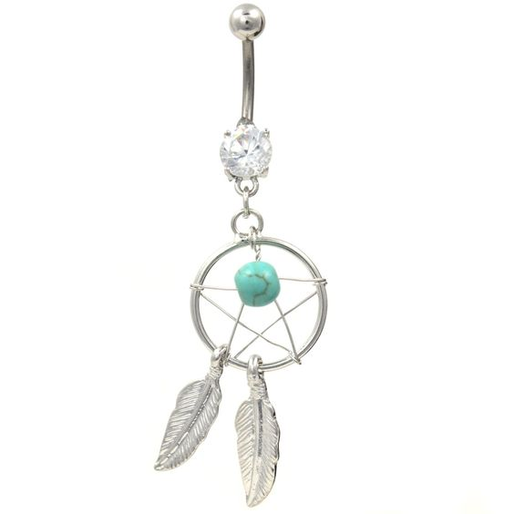 BodyDazz.com - Dreamcatcher and Star Turquoise Stone Belly Button Ring (http://www.bodydazz.com/dreamcatcher-and-star-turquoise-stone-belly-ring/)