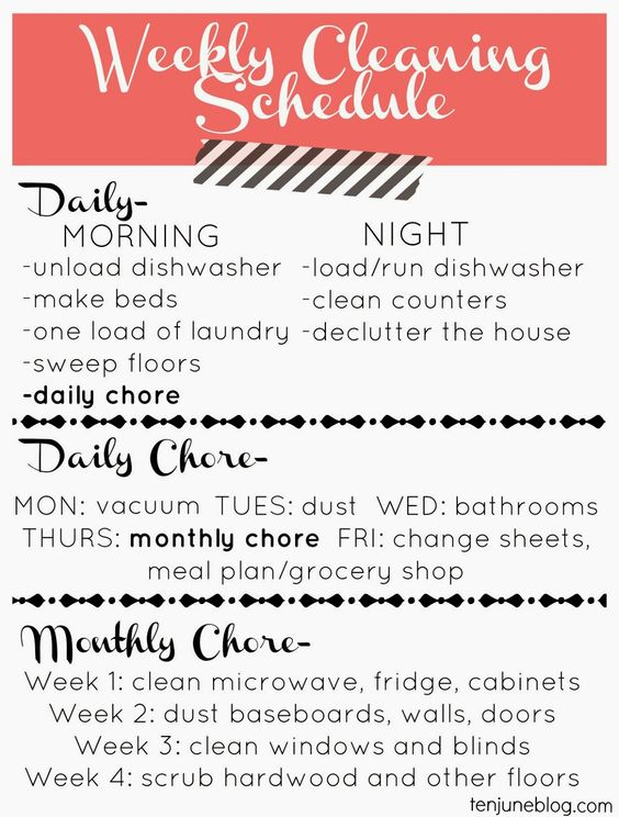Ten June: Free Printable: A Weekly Cleaning Schedule