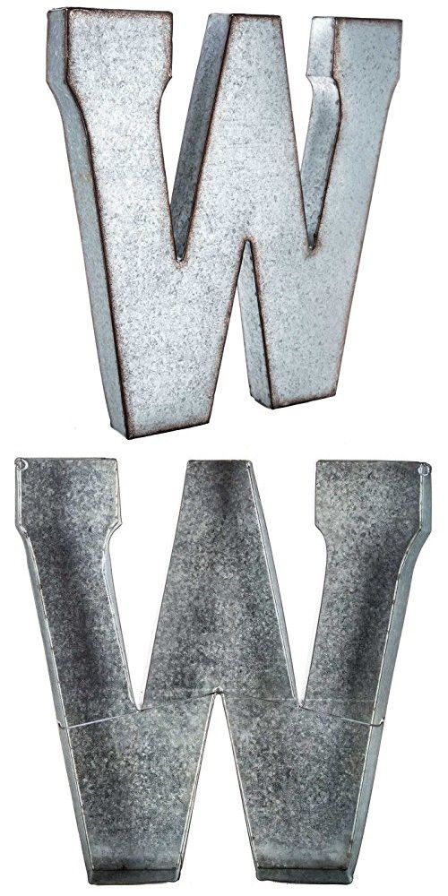 Huge 20 Metal Alphabet Wall Decor Letter W Rusted Edge Galvanized Metal Alphabet Wall Metal Wall Letters Alphabet Wall Decor