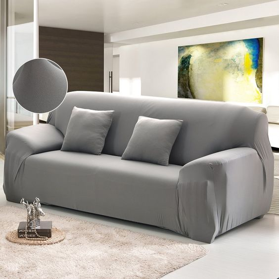 Cherry Juilt Stretch Sofa Cover 1piece Spandex Nonslip Couch Slipcover 3 Seater Polyester Furniture Protector Grey Y Slip Covers Couch Slipcovered Sofa Sofa