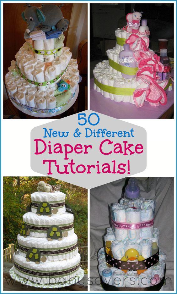 How to Make a Diaper Cake: 50 DIY Tutorials for Unique Diaper Cakes http://www.babysavers.com/how-to-make-a-diaper-cake-diy-tutorials/