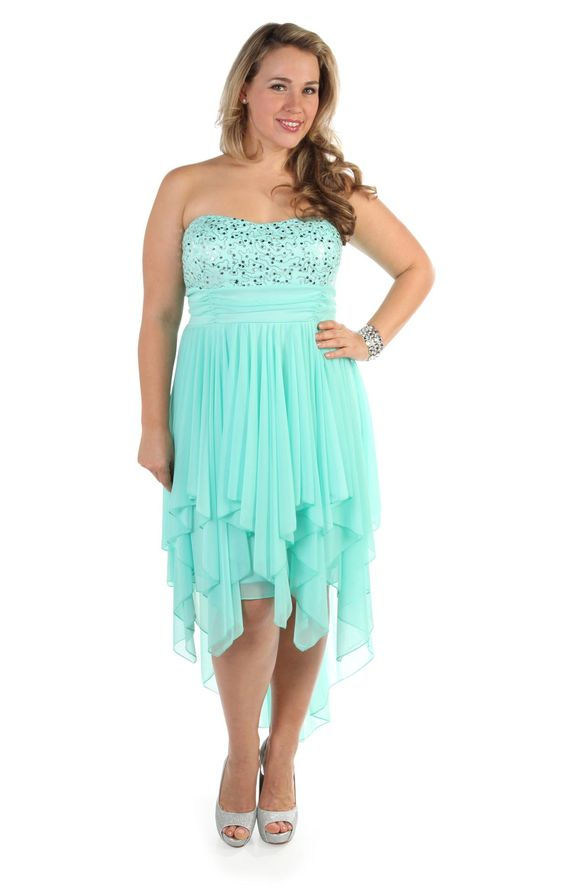 plus size two tone #sequin strapless party #dress with high low hem