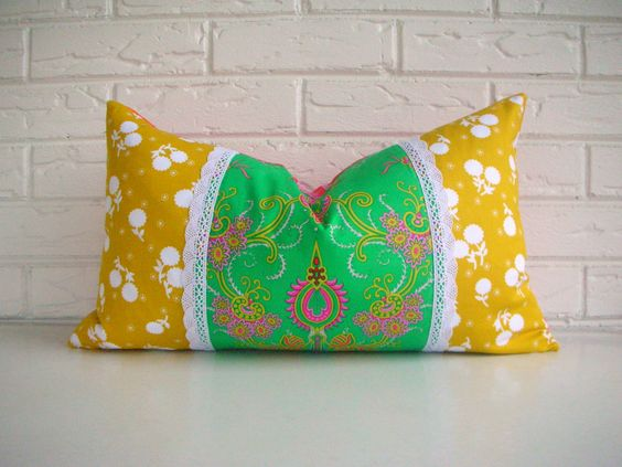 Colorful Bohemian Throw Pillows : Decorative Lumbar Pillow Cover - Colorful Boho Cushion - Vibrant Bohemian Chic Pillows - Indian ...
