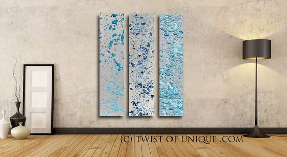 Rain Water Abstract Paintings, 3 panel CUSTOM (48 Inches x 12 Inches) Melted Metal Wall Art, - silver, metal, Blue, Turquoise