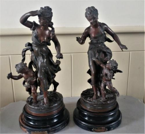 Antique French spelter putti figure