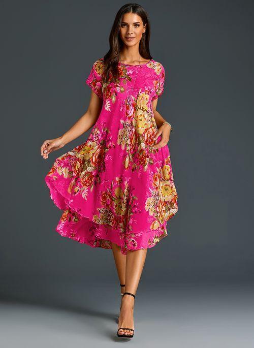 Chinese Casual Floral Ruffles Round Neckline A Line Dress Floryday Damenmode Kleider Damenkleider Kleidung Fur Frauen