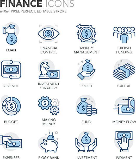 金融のアイコンブルーライン ベクターアートイラスト Finance Icons Business Icons Vector Icon