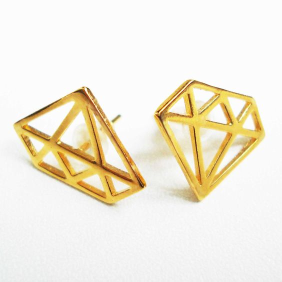 Graphic Diamond Earrings In Gold via Etsy