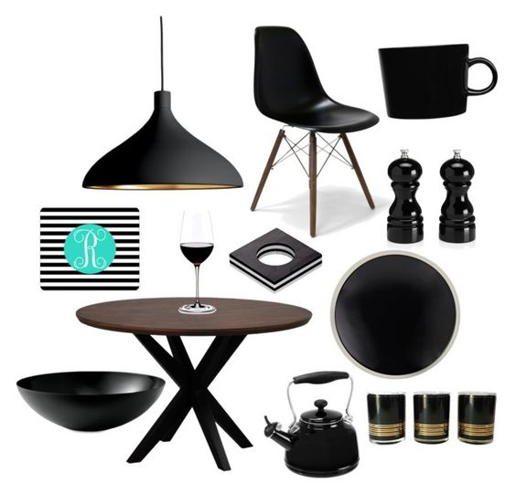 """#black Dinner #NC4you"" by claudiasauter on Polyvore featuring interior, interiors, interior design, Zuhause, home decor, interior decorating, Dot & Bo, Pablo, Sarah Lavoine und Riedel"