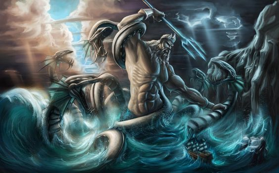 Poseidon is the god of the sea, rivers, earthquakes, flood, drought and horses in Greek mythology. He was one of the six children of the Titans, Cronus and Rhea. His counterpart in Roman mythology is Neptune. When Zeus released Poseidon and four other siblings from the imp