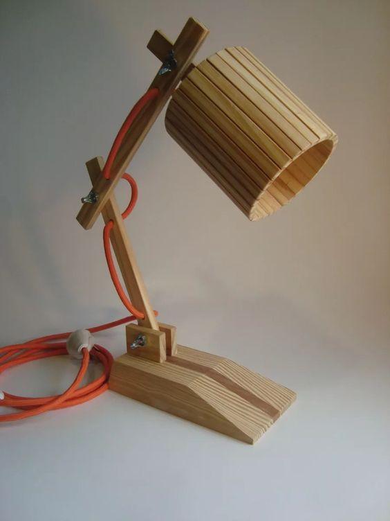 Lampara madera dise o velador escritorio mesa artesanal - Como hacer una lampara de mesa ...