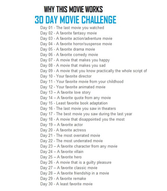 30 Day Movie Challenge. Try it for yourself!: