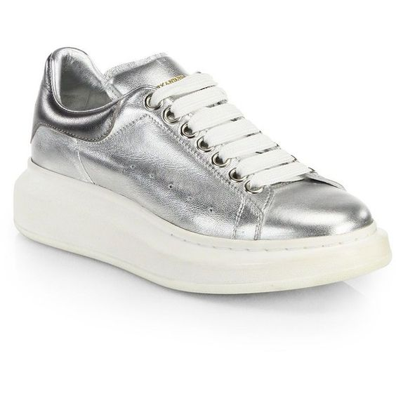 Alexander McQueen Metallic Leather Platform Sneakers ($620) ❤ liked on Polyvore featuring shoes, sneakers, apparel & accessories, silver, rubber sole shoes, leather shoes, metallic sneakers, metallic shoes and leather lace up sneakers