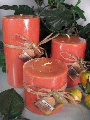 Set of 3 Round Pillars Tangerine Scent Candle by Unique Aromas. $35.63. Candle color may vary from photograph. Tangerine scent. Price per set candle. This set of candles is sure to bring joy and warmth to all those in the presence of them. Set of 3 candles.Some assembly may be required. Please see product details. Some assembly may be required. Please see product details.
