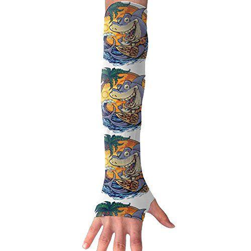 NUNOFOG Funny Shark Unisex Summer Arm Cover Sleeves Long Fingerless Sun-proof Anti-UV Long Gloves For Outdoor