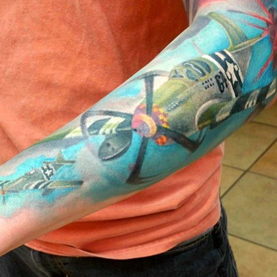 Men 39 s forearm airplane fighter jet tattoos tattoos for for Jet life tattoo