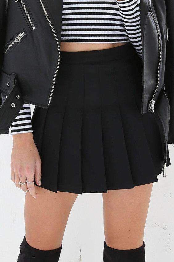 Multicolor Girly Vintage Pleated Mini Tennis Skirt Black Pleated Mini Skirt Tennis Skirt Outfit Mini Skirts
