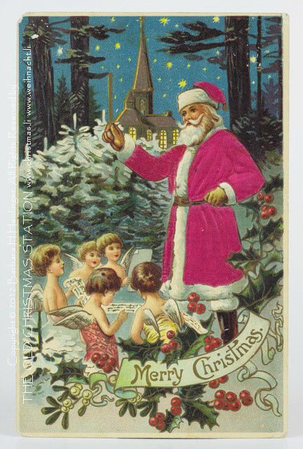 THE OLD CHRISTMAS STATION - early ephemera :: silk postcard :: old christmas ornament :: Dresden Paper :: antique :: German Christmas Decorations :: figural glass :: Sebnitz :: old Cotton Ornaments :: Heubach :: vintage :: Christmas Rarities