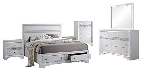 Tokyo 6 Piece Bedroom Set Queen White Wood Contemporary