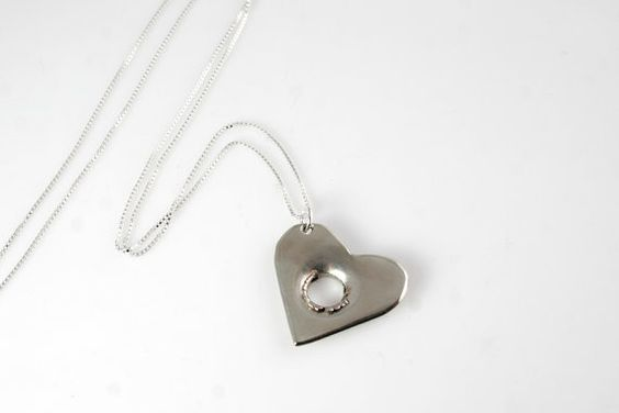 Sweet Shot Heart Necklace in Brass or Nickel