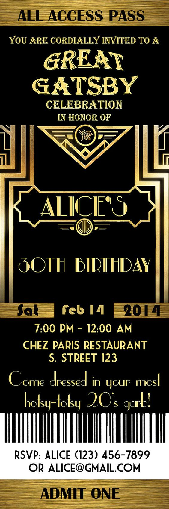 Grand Gatsby Style Art déco Party Invitation bal par StudioDMD