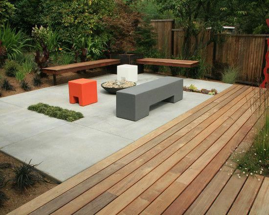 Concrete Slab And Wood Deck Combo Deckdesigner Outdoor Wood Decking Concrete Deck Patio Makeover