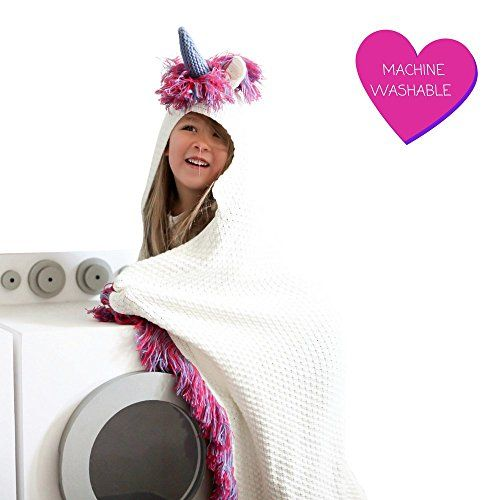Hooded,Turquoise and Purple Wearable Crochet Born To Unicorn Blanket for Girls
