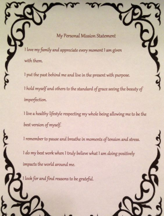 mission statements every day and i will  my personal mission statement i will do my best to live every day