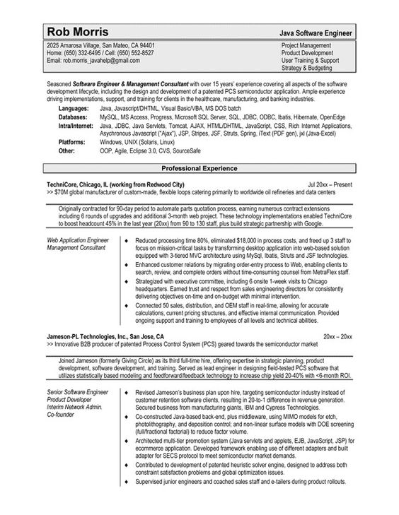 Software Engineer Resume Template For Word -    www - cypress resume