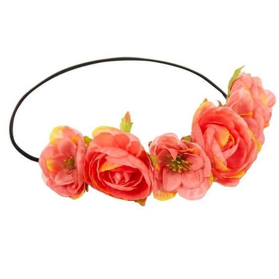 Coral Exotic Flower Hair Garland (14 VEF) ❤ liked on Polyvore featuring accessories, hair accessories, headbands, hair, flower crowns, coral, floral garland headband, floral crown, floral crown headband and flower hair accessories