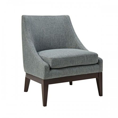 Blue Grey Fabric Slope Arm Accent Chair Accent Chairs House Styling Interior Blue Furniture