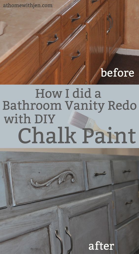 Chalk painting a bathroom vanity i am painting a - How to refinish a bathroom vanity ...